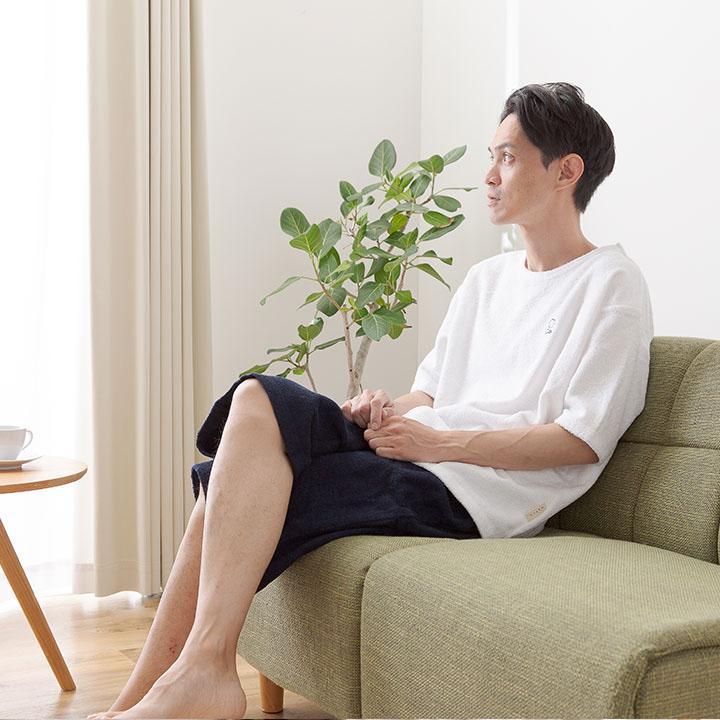 コットン100%/ポケット付き/上下セット 男女兼用 大人 パジャマ パイル生地 天然素材 吸汗 丸洗い可能 ふわふわ 快適 寝巻 mofua 着るタオルケット L 4色対応|wakuwaku-land|15