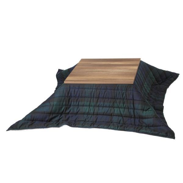 こたつ2点セット こたつ台 テーブル 古材風アイアンこたつテーブル ブルック 80x80cm 正方形 保温綿入り掛布団 チェック柄 (I-4300013)