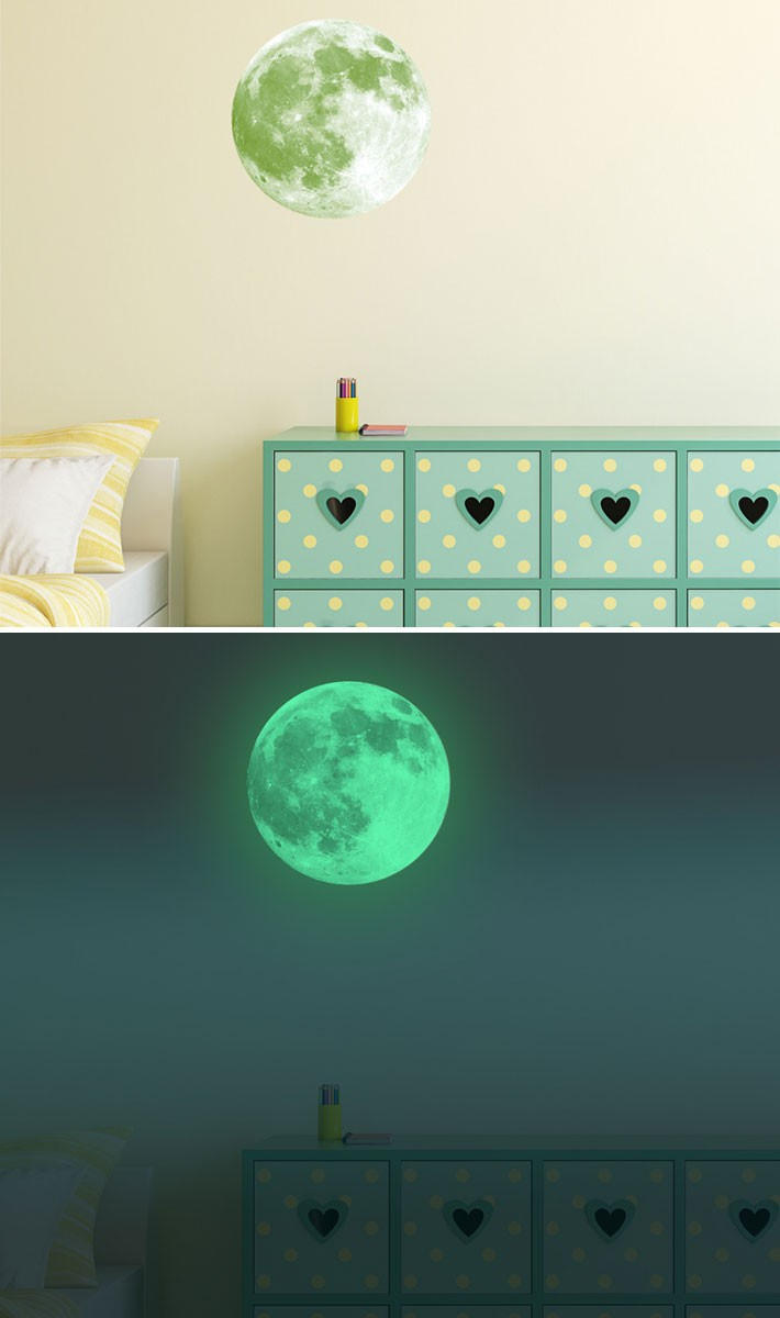 ウォールステッカー 蓄光 夜光 暗くなると光る きれい 子供部屋 リビング インテリア シール のり付き おしゃれ 壁紙シール