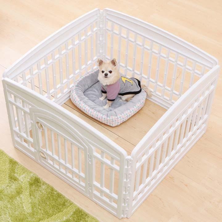 ペットペットケージペットサークル室内用柵サークルケージゲージ犬いぬ小型犬簡単組み立てペットサークルCI-604E W/Dホワイト/ベージュアイリスオーヤマ