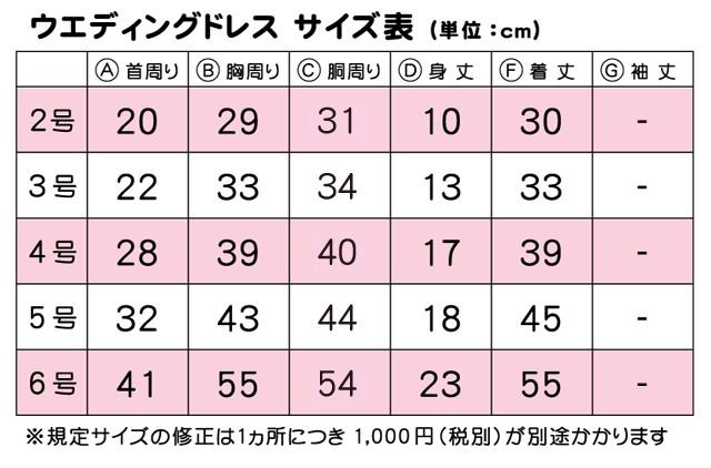 ドレスサイズ表