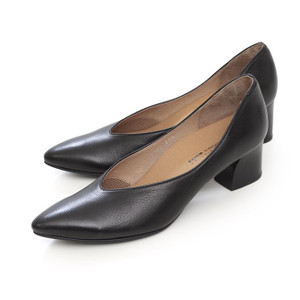 ラボキゴシ ワークス RABOKIGOSHI works パンプス 12287 B ブラック 黒 Vカット 本革 太ヒール レディース 靴 セール|Parade ワシントン靴店