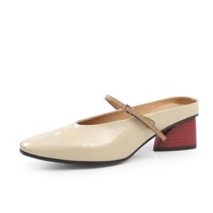 RABOKIGOSHI works サンダル ラボキゴシ ワークス 靴 12360 ミュール 本革 エナメル ストラップ 太ヒール セール|Parade ワシントン靴店