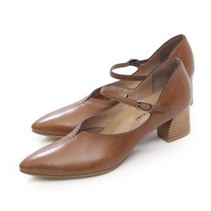RABOKIGOSHI works ストラップ パンプス ラボキゴシ ワークス 12288D BR ブラウン 茶色 本革 太ヒール レディース 靴 大きいサイズ セール|Parade ワシントン靴店