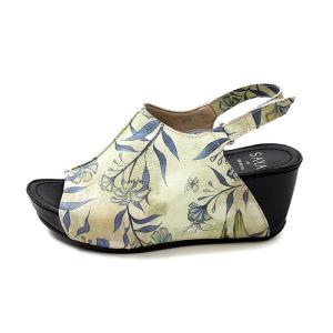 SAYA サヤ 靴 サンダル レディース 厚底 ヒール ストラップ 本革 50907 BEG 花柄 バックストラップ ベルクロ オープントゥ 日本製 Parade ワシントン靴店