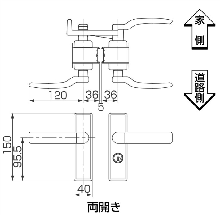 アーム式シリンダー錠シリンダーRD錠寸法
