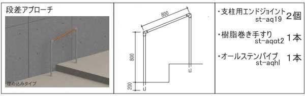 屋外に取付可能な手すり部品セット-玄関アプローチ段差
