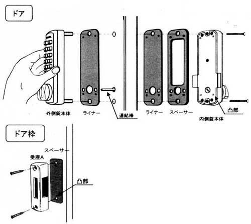 番号式補助鍵 デジタルロック-取付方法