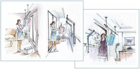 室内物干しをベランダ付近に設置し洗濯物干しを楽にできる