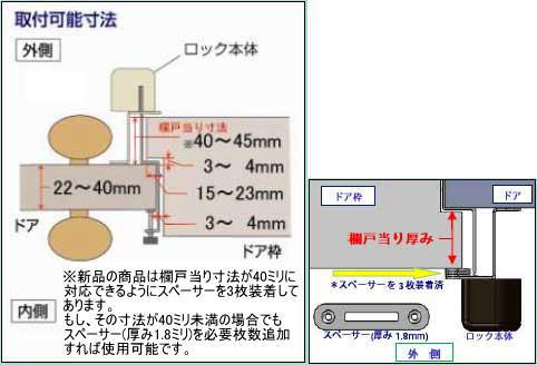 内開き扉用補助錠(鍵)取り付け可能サイズ