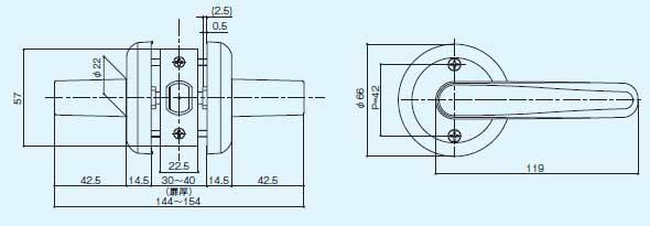 ドアノブ交換用レバーハンドル錠サイズ