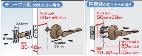 取替バリアフリーレバー錠-交換が可能なサイズ