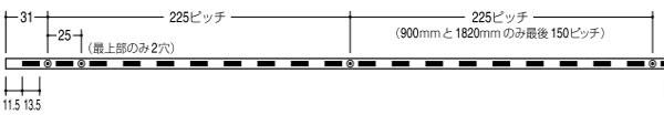 棚受け金物-棚柱(支柱レール) サイズ