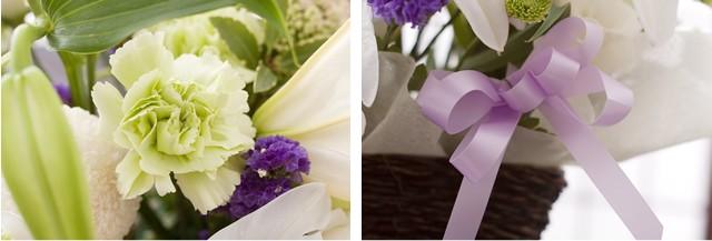 上品な白系のお花を中心に仕上げておりますので流派や地域を問わずご利用いただけます