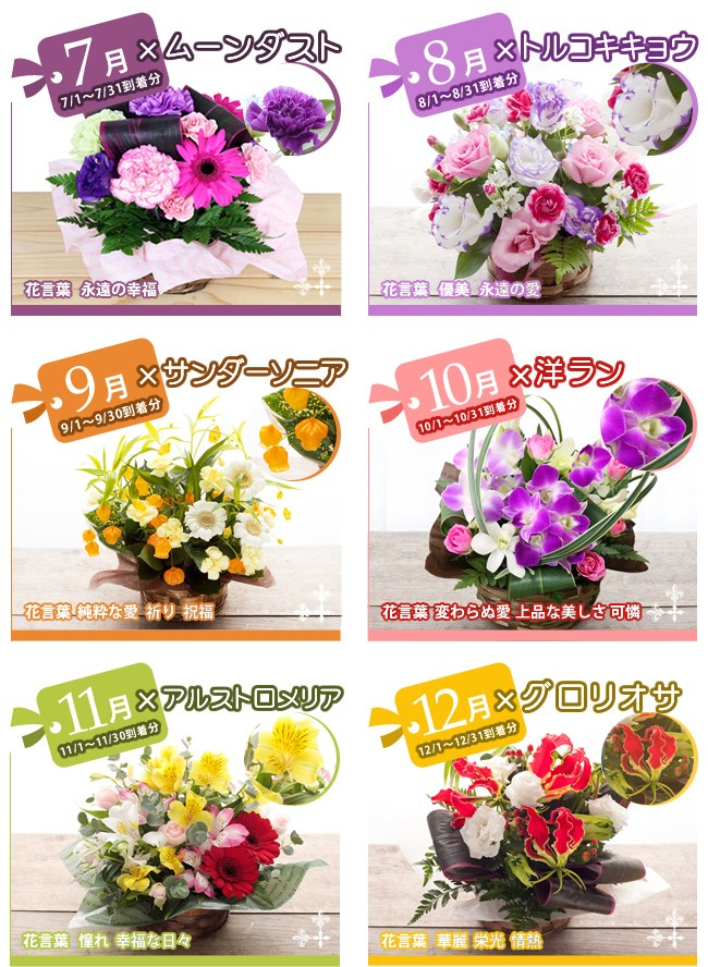 1月から12月までのお花