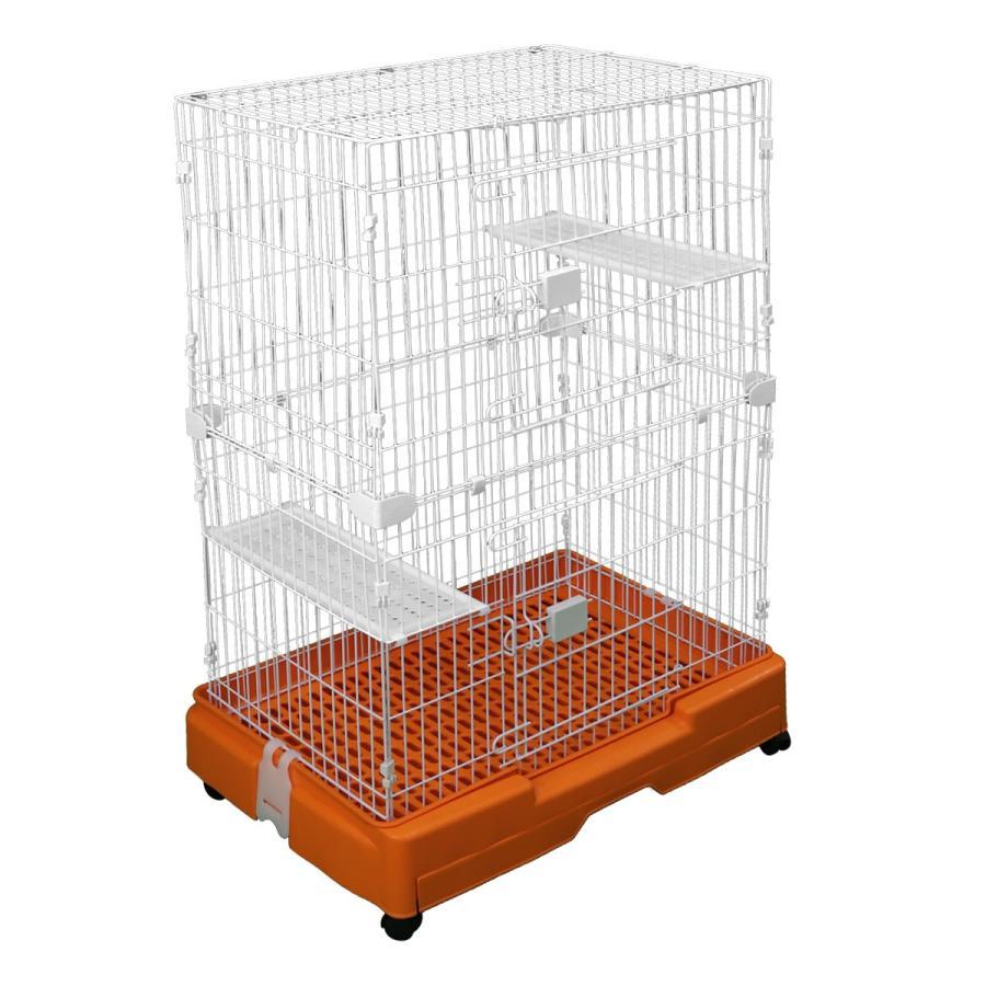 キャットケージ 2段 スリム プラケージ ネコケージ ペットケージ 猫ケージ 室内ハウス すのこ 色選択 足場板2枚付き WEIMALL weimall 12