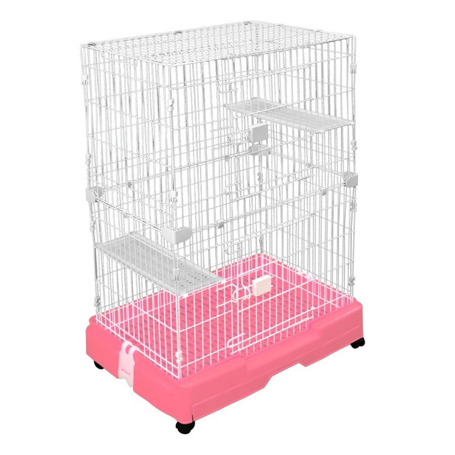 キャットケージ 2段 スリム プラケージ ネコケージ ペットケージ 猫ケージ 室内ハウス すのこ 色選択 足場板2枚付き WEIMALL weimall 16