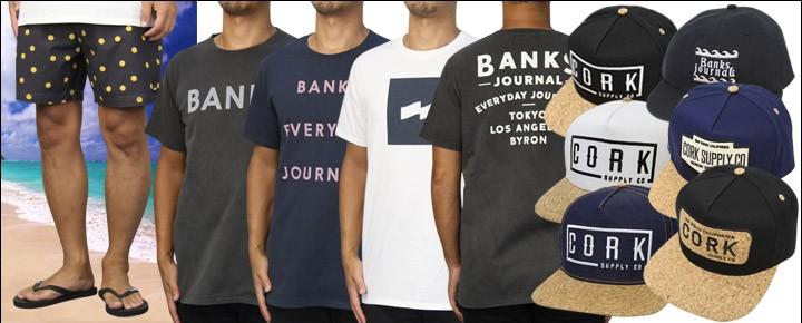 7月25日(火)BANKS新作Tシャツ、ボードショーツ、キャップ8商品が入荷!コルクサプライ完売していたCAPなど7商品が入荷!数量限定ですのでお早めに!ヤマト運輸は期間限定!税込6,480円以上で送料無料でお届け致します!