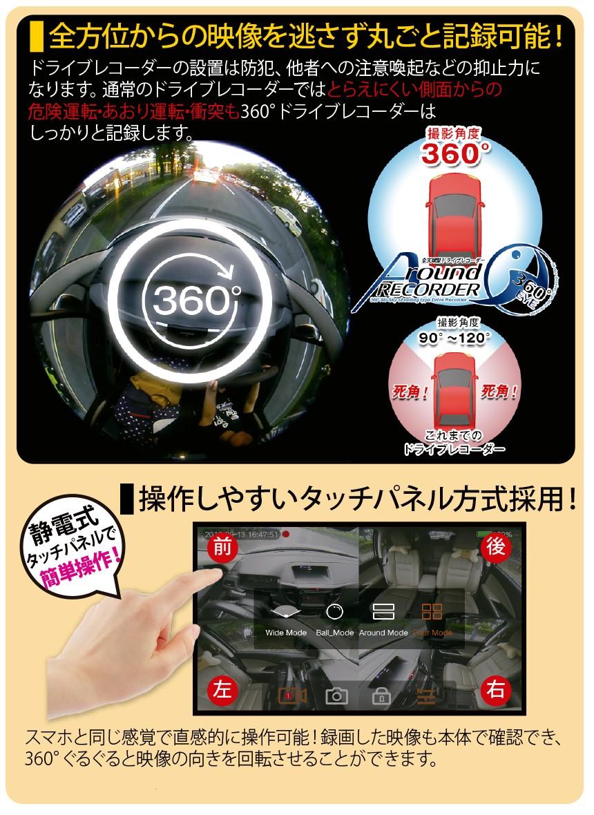 ミラー型360度ドライブレコーダー
