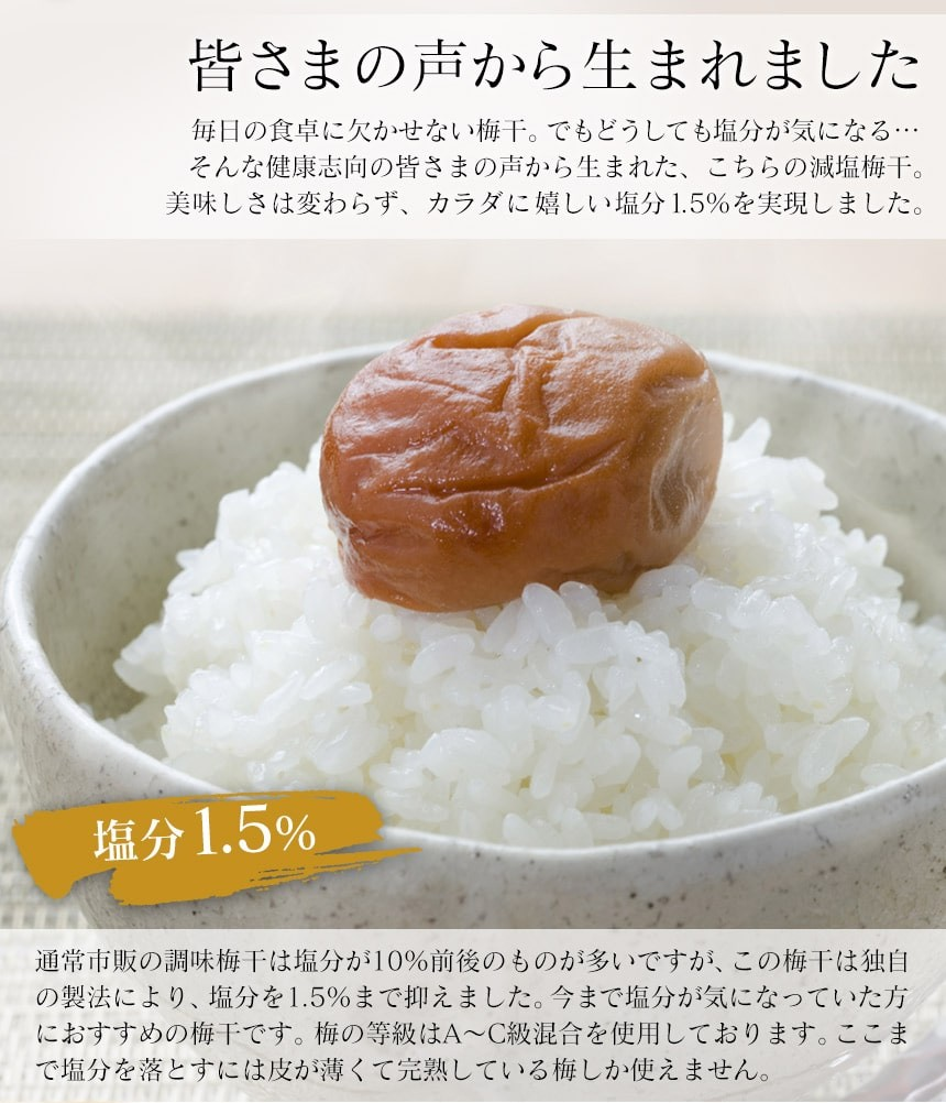 減塩 塩分1.5%紀州南高梅 はちみつ 1.6kg