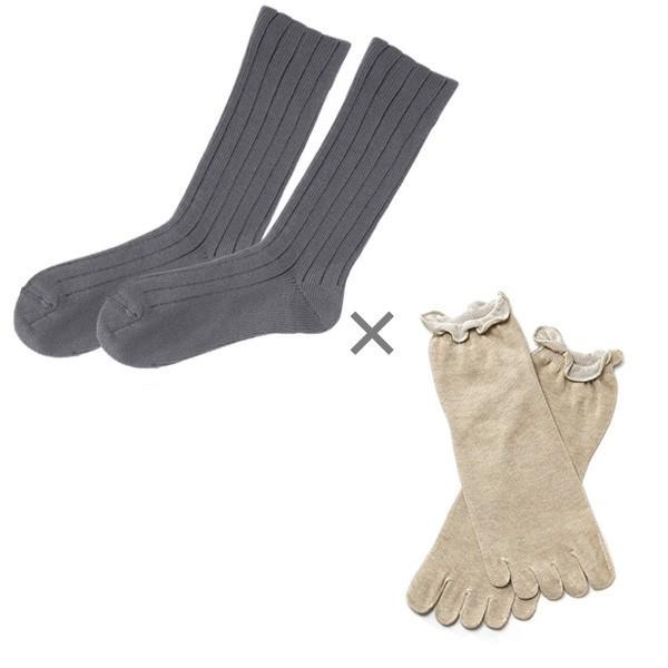 冷え取り靴下 シルク 日本製 5本指ソックス 重ねばき靴下 2枚 足首 冷え対策 冬 冷え性対策 綿 レディース 子供 保温 暖かい ギフト クリスマスプレゼント|wide02|24