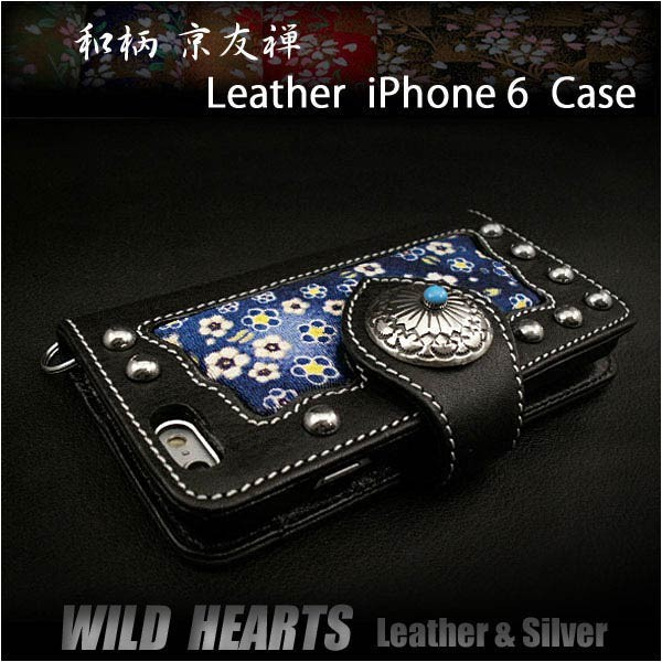 genuine,leather,iphone,6 ,flip,case,wallet,cover,japanese,pattern