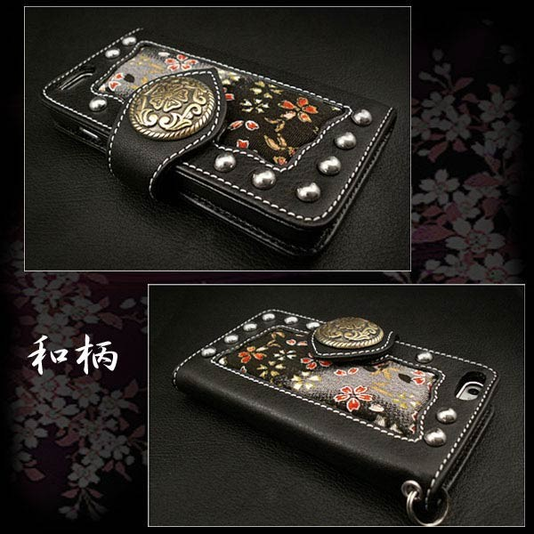 genuine,leather,iphone,6 ,flip,case,wallet,cover,japanese,patternn