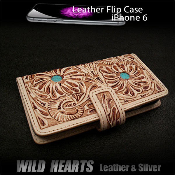 genuine leather 6/6s/7flip case wallet cover carved custom handmade