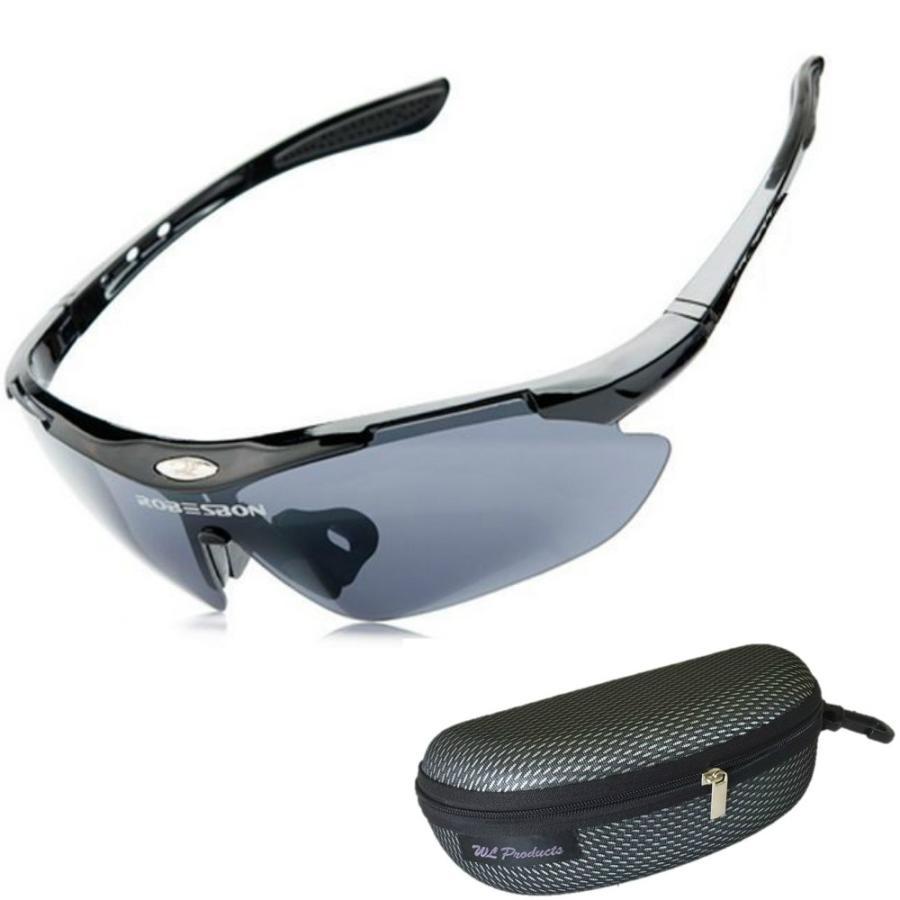 タイムセール スポーツサングラス 収納ケース付 4点セット 紫外線カット サングラス メンズ スキー スノボー バレンタイン にも 送料無料 wls 10