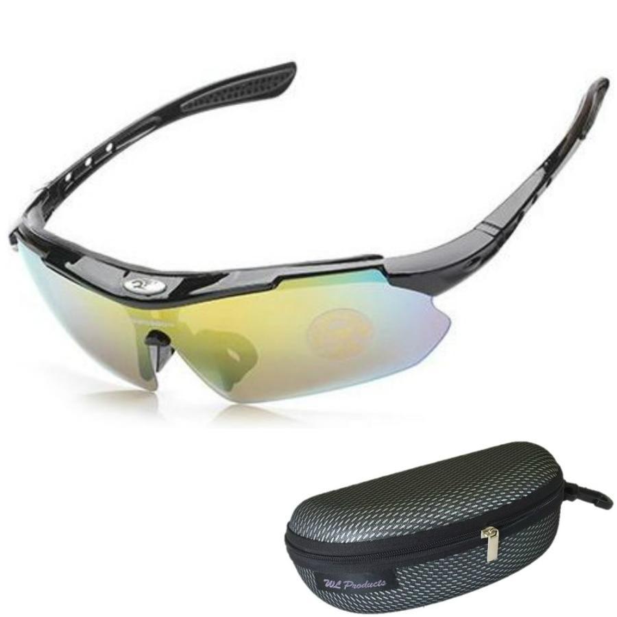タイムセール スポーツサングラス 収納ケース付 4点セット 紫外線カット サングラス メンズ スキー スノボー バレンタイン にも 送料無料 wls 14