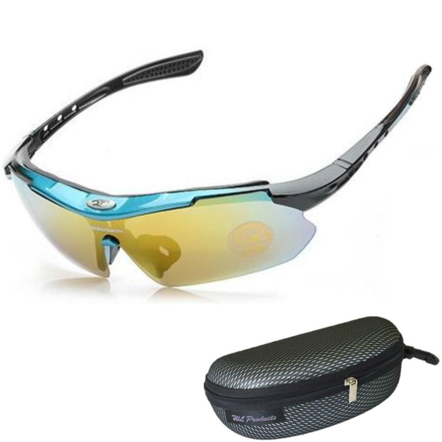 タイムセール スポーツサングラス 収納ケース付 4点セット 紫外線カット サングラス メンズ スキー スノボー バレンタイン にも 送料無料 wls 15