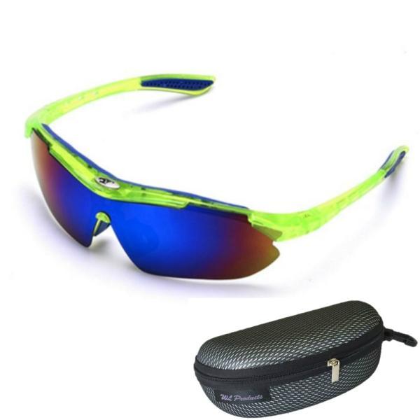 軽量 スポーツサングラス 収納ケース付 4点セット 紫外線カット サングラス メンズ スキー スノボー バレンタイン にも 送料無料|wls|19