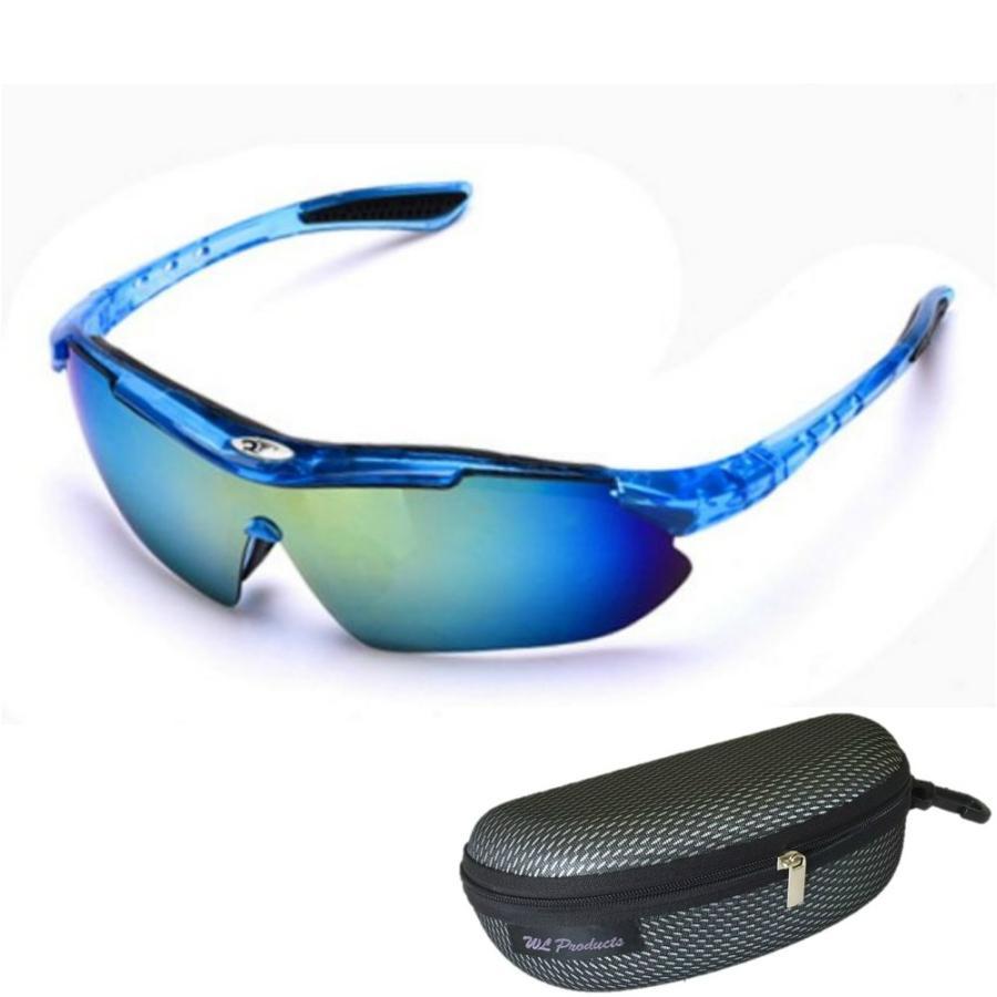 タイムセール スポーツサングラス 収納ケース付 4点セット 紫外線カット サングラス メンズ スキー スノボー バレンタイン にも 送料無料 wls 18