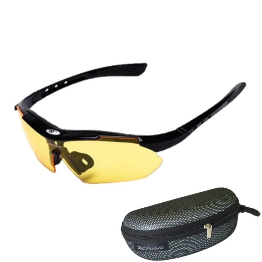 タイムセール スポーツサングラス 収納ケース付 4点セット 紫外線カット サングラス メンズ スキー スノボー バレンタイン にも 送料無料 wls 20
