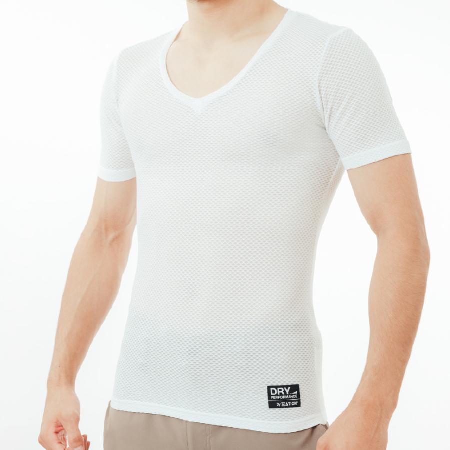 インナー メンズ 半袖 メッシュ Vネック 通気性 Tシャツ ソフト ドライ べたつかない クレーターメッシュVネック半袖 8823 ポイント workerbee 09