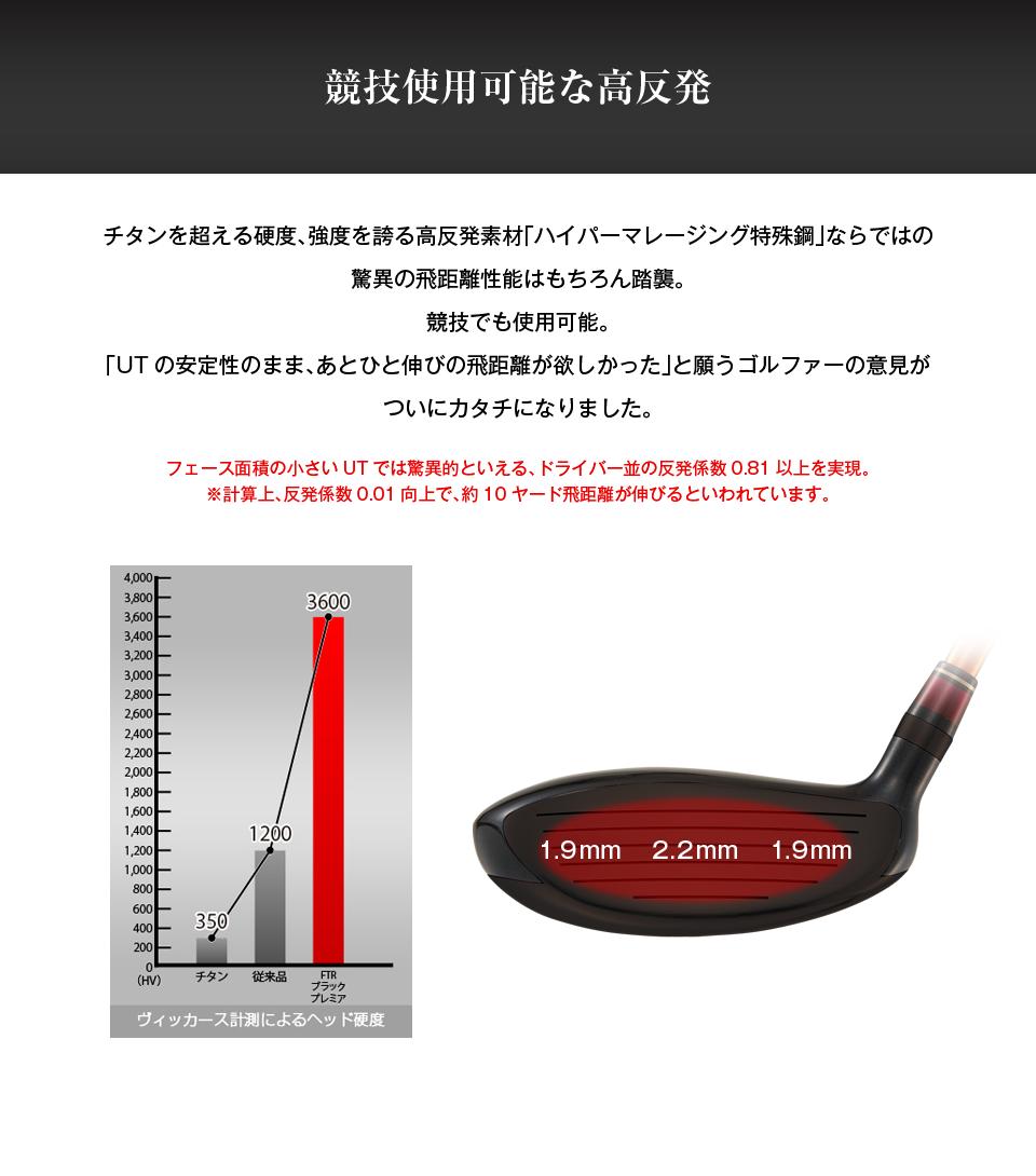 競技使用可能な高反発 チタンを超える硬度、強度を誇る高反発素材「ハイパーマレージング特殊鋼」ならではの驚異の飛距離性能はもちろん踏襲。競技でも使用可能。「ユーティリティの安定性のまま、あとひと伸びの飛距離が欲しかった」と願うゴルファーの意見がついにカタチになりました。フェース面積の小さいUTでは驚異的といえる、ドライバー並の反発係数0.81以上を実現。※計算上、反発係数0.01向上で、約10ヤード飛距離が伸びるといわれています。