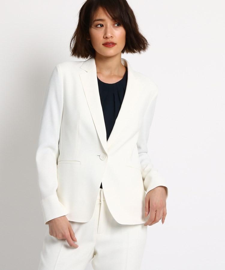 INDIVI(インディヴィ)通販|【マシンウォッシュ/UV/接触冷感】リネン風テーラードジャケット(ホワイト(002))