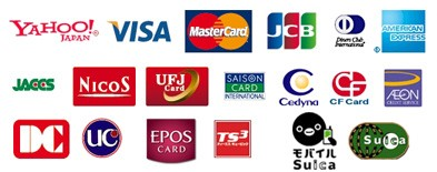 使用可能なカード Yahoo!JAPAN, VISA, MasterCard, JCB, Diners Club INTERNATONAL, AMERICAN EXPRESS, JACCS, NicoS, UFJ Card, SAISON CARD INTERNATIONAL, Cedyna, CF Card, AEON, DC, UC, EPOS CARD, TS3 ティーエスキュービック, モバイルSuica
