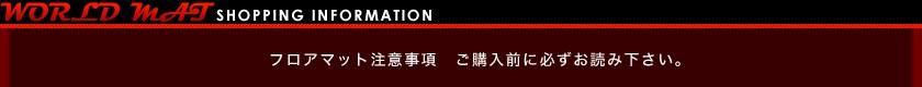 Worldmat (ワールドマット)Shopping Information フロアマット注意事項 ご注文前に必ずお読みください。
