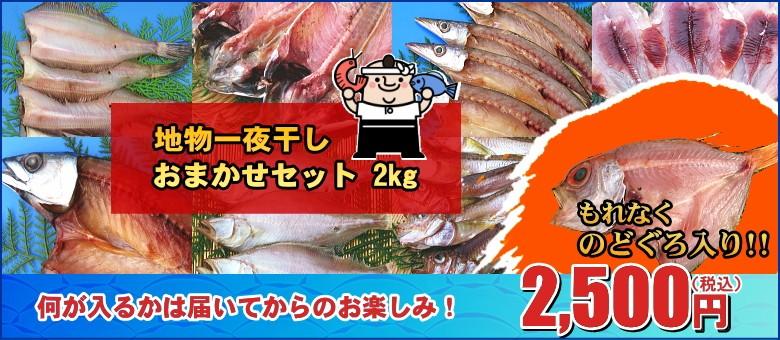 今なら人気高級魚のどぐろ(アカムツ)入り! 地物一夜干し おまかせセット 2kg