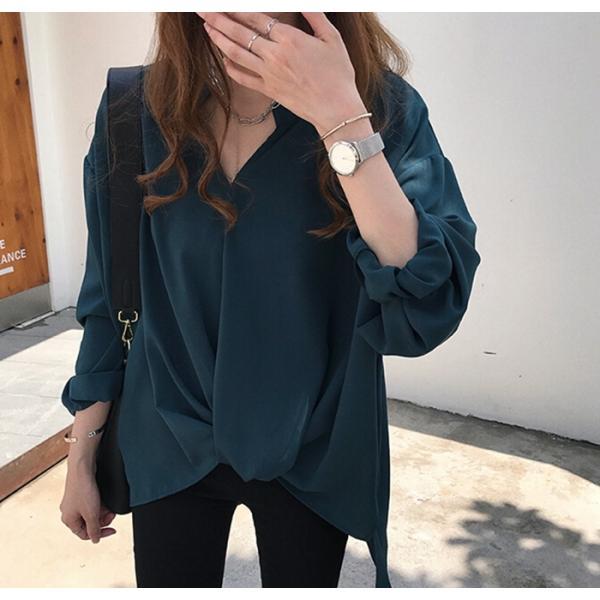 ブラウス レディース シャツ トップス 母の日 5種類 Vネック 長袖シャツ 新作 春夏 代引不可 一部分当日発送|yayushop|15