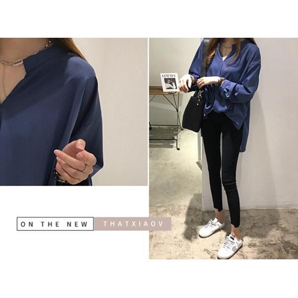 ブラウス レディース シャツ トップス 母の日 5種類 Vネック 長袖シャツ 新作 春夏 代引不可 一部分当日発送|yayushop|16