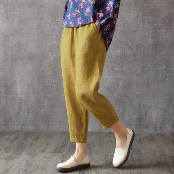 ジョガーパンツ テーパードパンツ 麻綿風パンツ 2type サルエルパンツ パンツ 無地 春夏 ウエストゴム ボトムス 代引不可 5~8営業日発送予定|yayushop|28