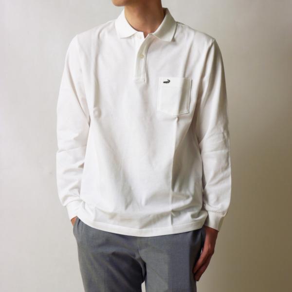 クロコダイル ポロシャツ 長袖 胸ポケット 無地 ブランド オシャレ メンズ 靴下1足セット 鹿の子 綿100% 日本製  父の日 誕生日 プレゼント ギフト CROCODILE ygc 19