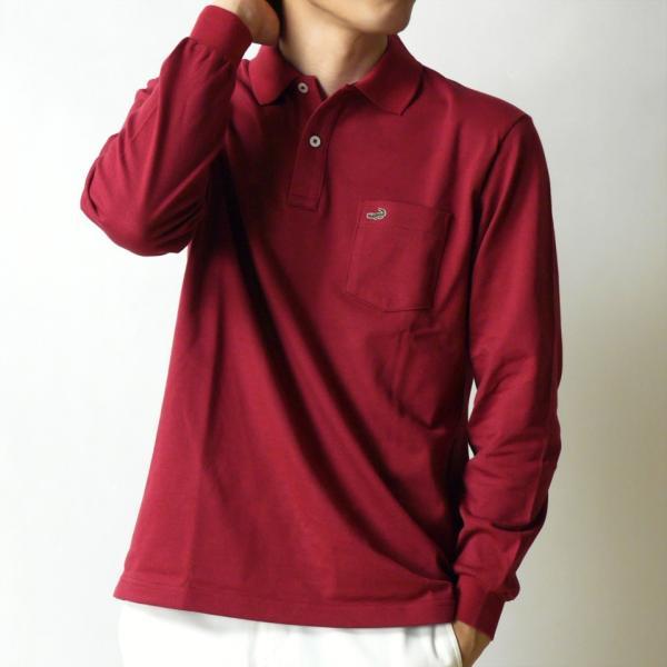 クロコダイル ポロシャツ 長袖 胸ポケット 無地 ブランド オシャレ メンズ 靴下1足セット 鹿の子 綿100% 日本製  父の日 誕生日 プレゼント ギフト CROCODILE ygc 22