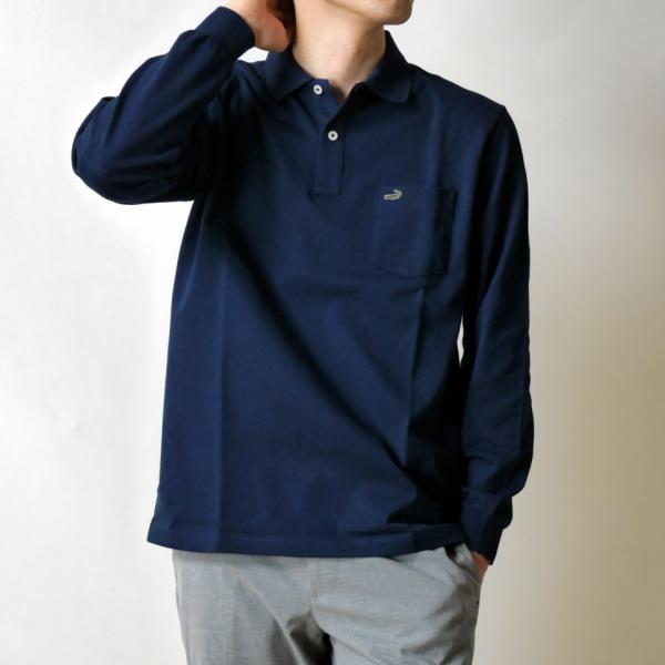 クロコダイル ポロシャツ 長袖 胸ポケット 無地 ブランド オシャレ メンズ 靴下1足セット 鹿の子 綿100% 日本製  父の日 誕生日 プレゼント ギフト CROCODILE ygc 24