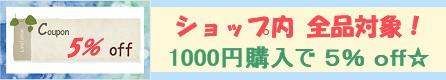 1000円で全品5% offクーポンキャンペーン