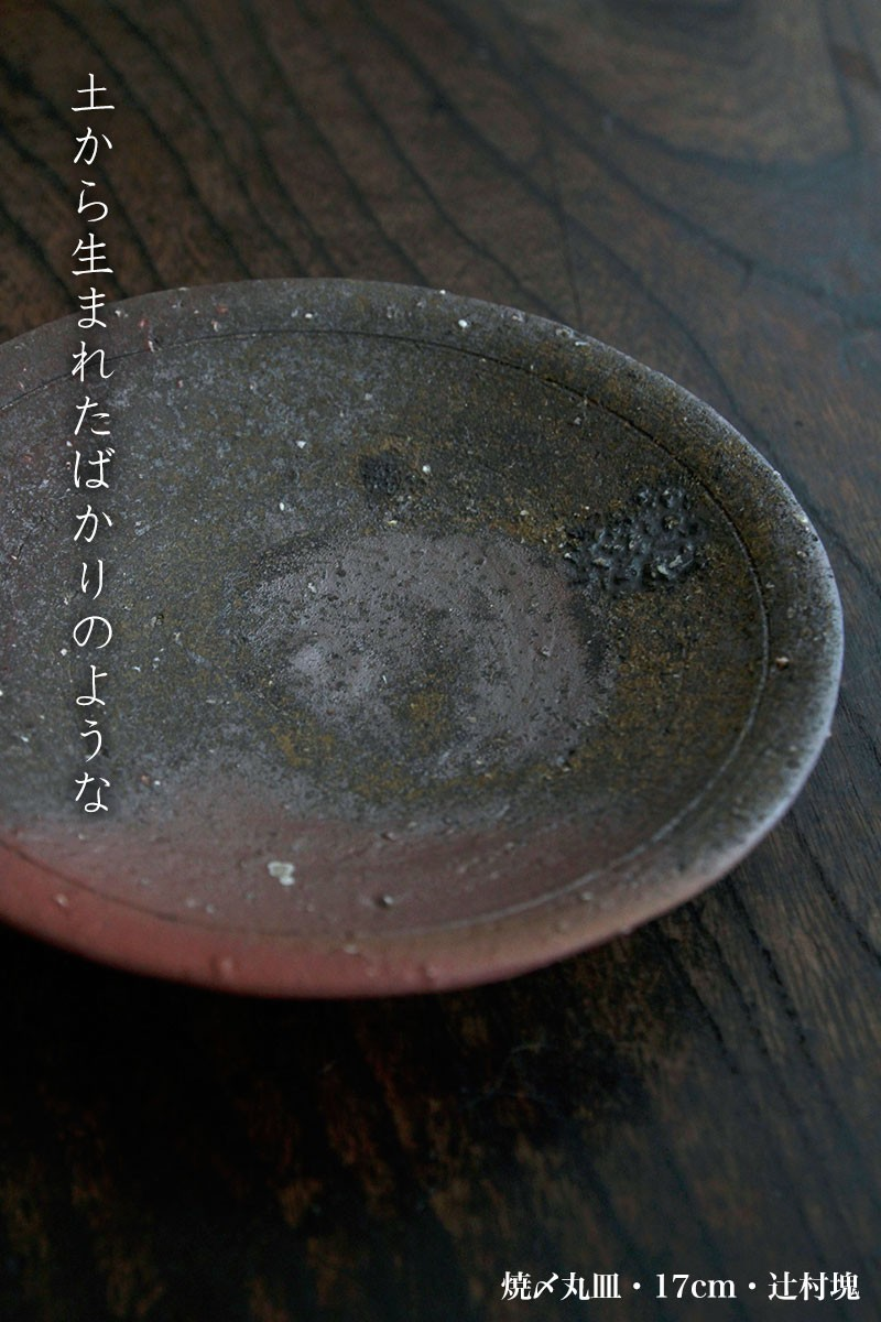 焼〆丸皿・17cm・辻村塊 和食器の愉しみ・工芸店ようび