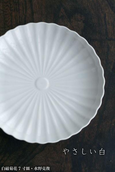 白磁菊花7寸皿・水野克俊