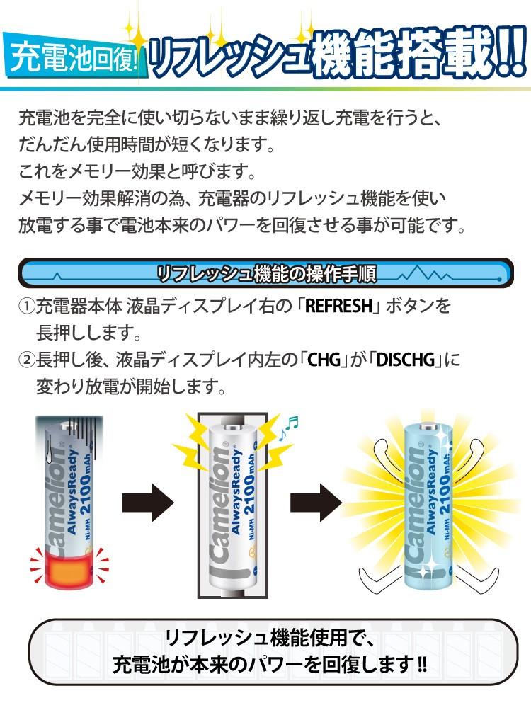 充電池回復!リフレッシュ機能搭載!! リフレッシュ機能使用で、充電池が本来のパワーを回復します!!